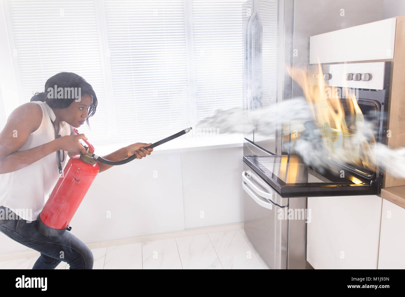 fire extinguisher for kitchen use outdoor cabinet doors accident stock photos and