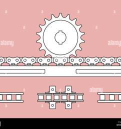 sprocket and chain rack on transmission of mechanical power stock vector [ 1300 x 1070 Pixel ]