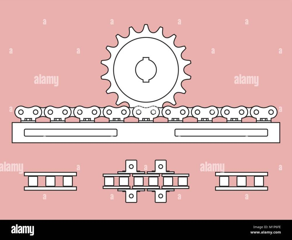medium resolution of sprocket and chain rack on transmission of mechanical power stock vector