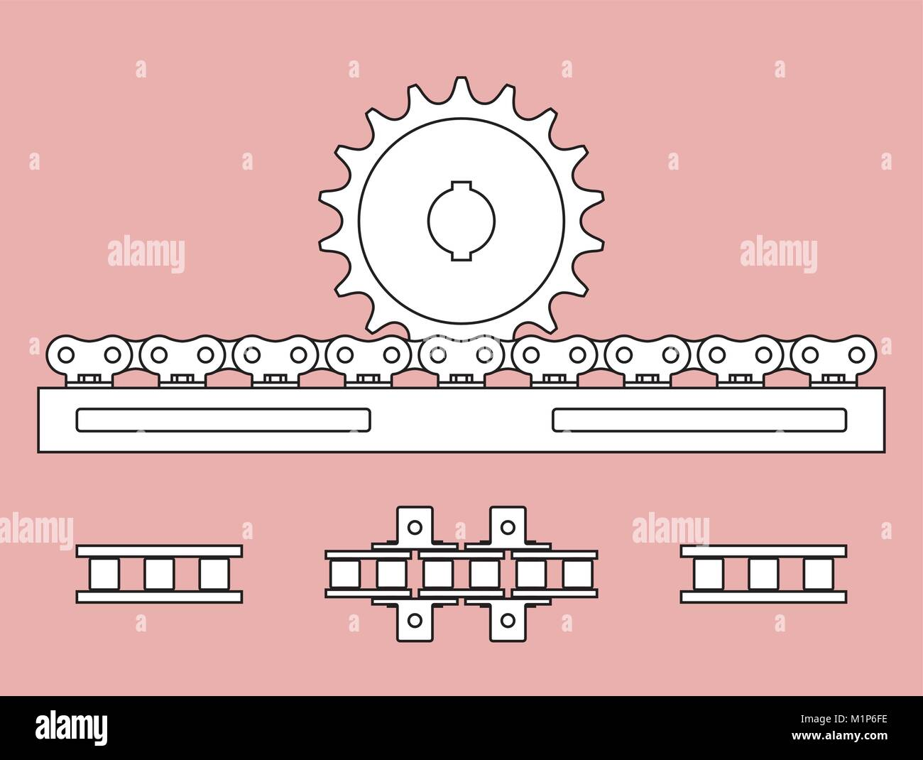 hight resolution of sprocket and chain rack on transmission of mechanical power stock vector
