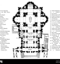 plan of the papal basilica of st peter vatican city rome italy 19th century [ 1300 x 1152 Pixel ]