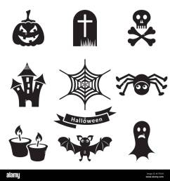 set of black scary halloween silhouette icons isolated stock vector [ 1300 x 1390 Pixel ]