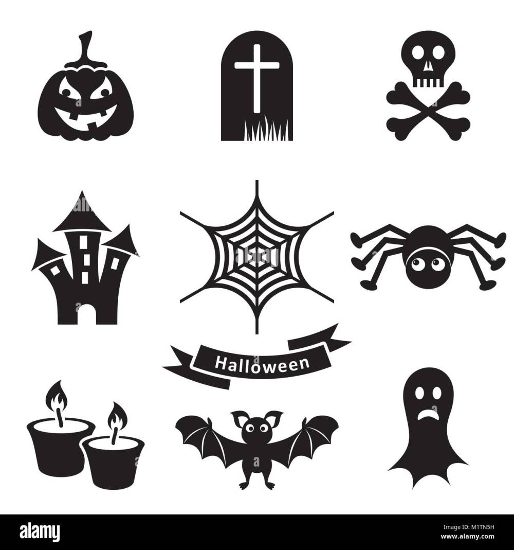 medium resolution of set of black scary halloween silhouette icons isolated stock vector