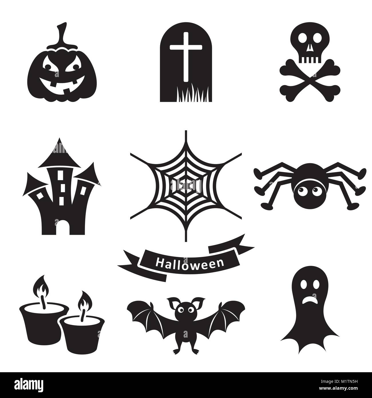 hight resolution of set of black scary halloween silhouette icons isolated stock vector
