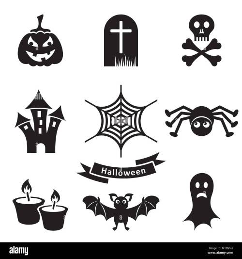 small resolution of set of black scary halloween silhouette icons isolated stock vector