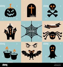 set of black and orange scary halloween icons stock vector [ 1300 x 1390 Pixel ]