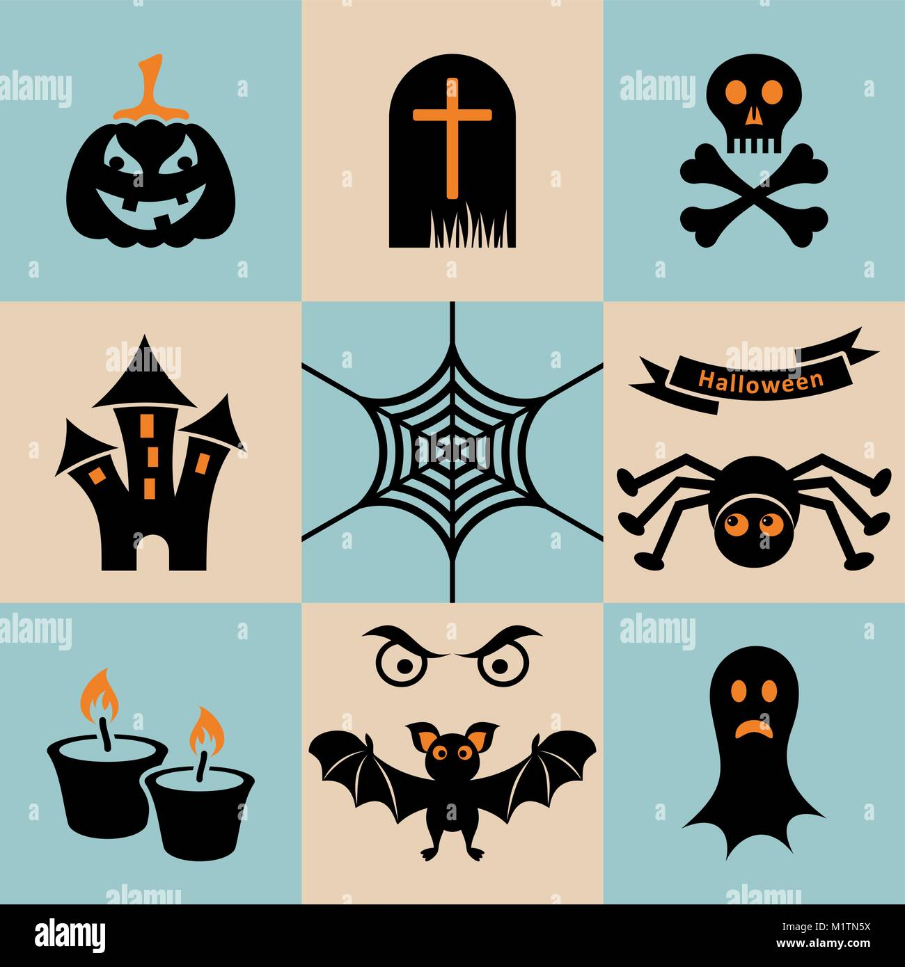 hight resolution of set of black and orange scary halloween icons stock vector