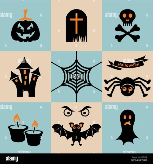 small resolution of set of black and orange scary halloween icons stock vector