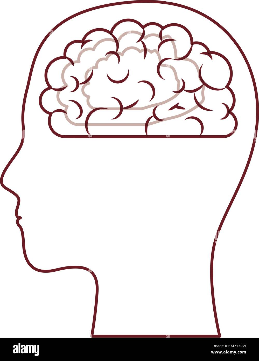 hight resolution of human face brown silhouette with brain inside in dark red contour