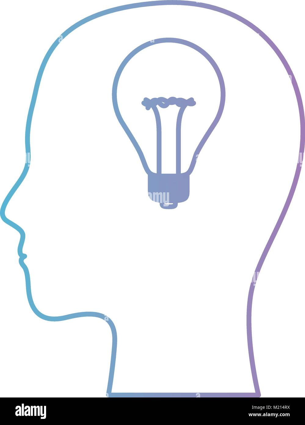 hight resolution of human face silhouette with light bulb inside in degraded blue to purple color contour
