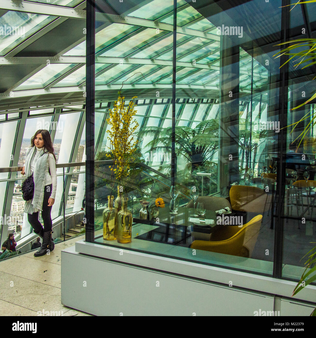 Sky Garden Restaurant Inside The Skyscraper At Fenchurch St London Stock Photo Alamy