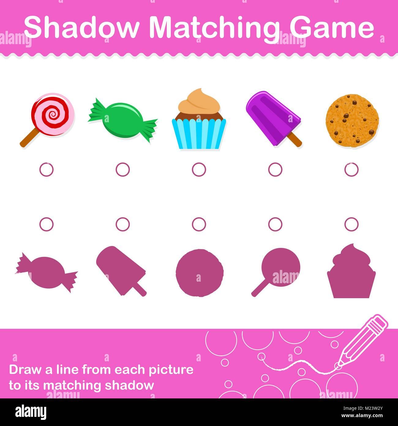 Match Shadow Puzzle Worksheet Kids Stock Photos Amp Match