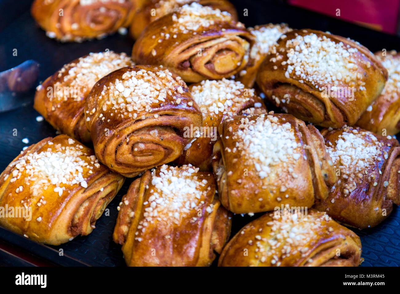 swedish cinnamon rolls stock
