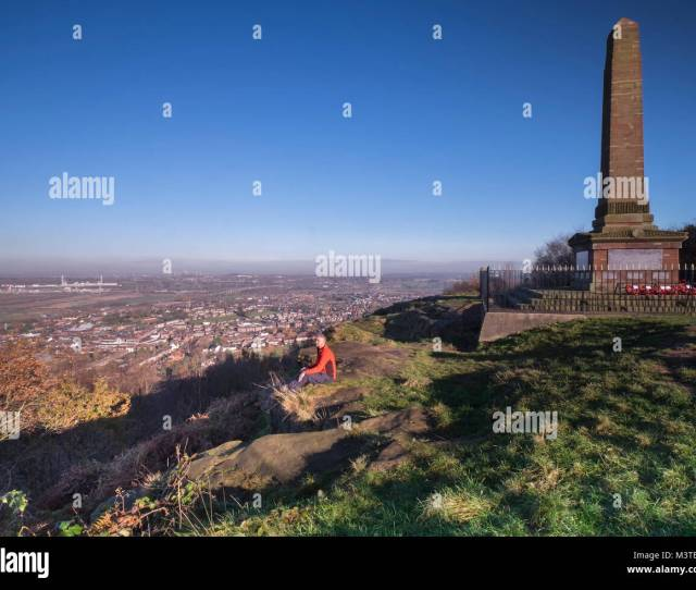 Walker Looking Out From Mersey View On Frodsham Hill Cheshire England Uk Model Released