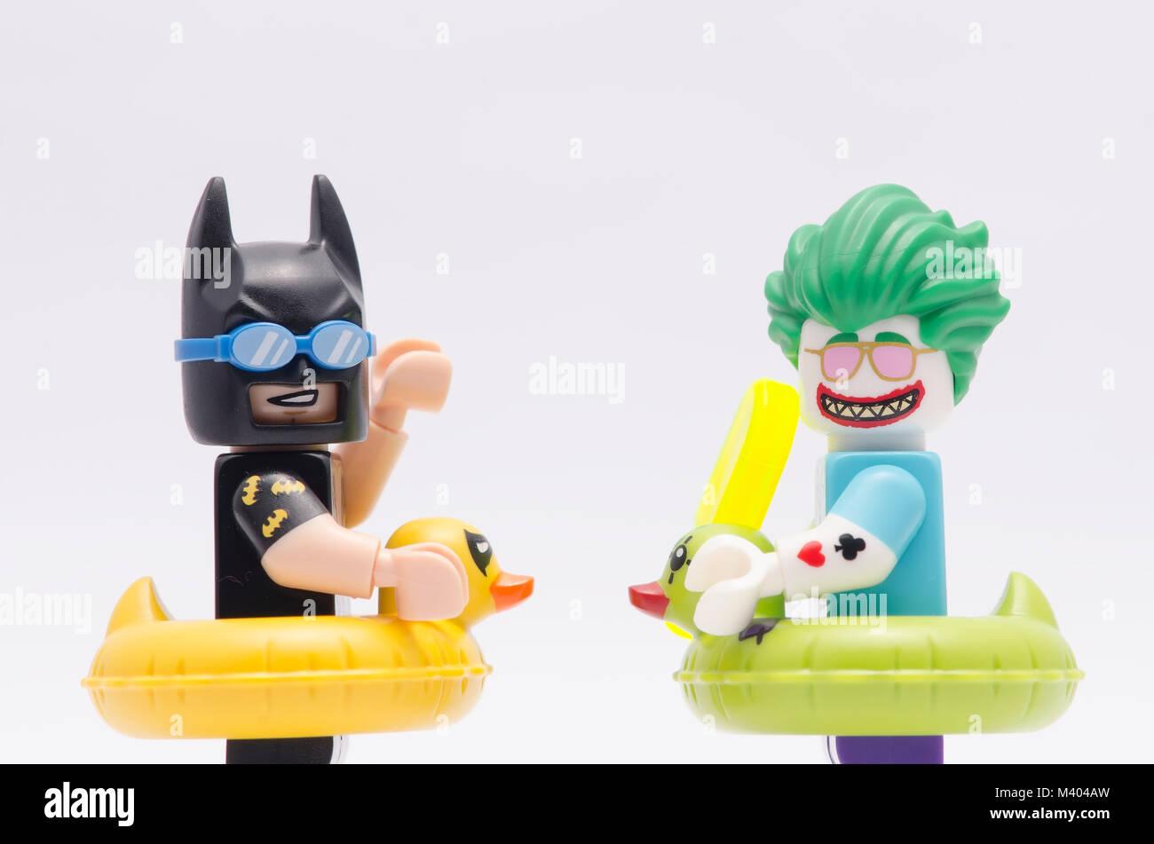 Close Up Lego Vacation Batman And Beach Joker Isolated On White Stock Photo Alamy
