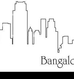 bangalore city one line drawing abstract background with metropolis cityscape [ 1300 x 977 Pixel ]