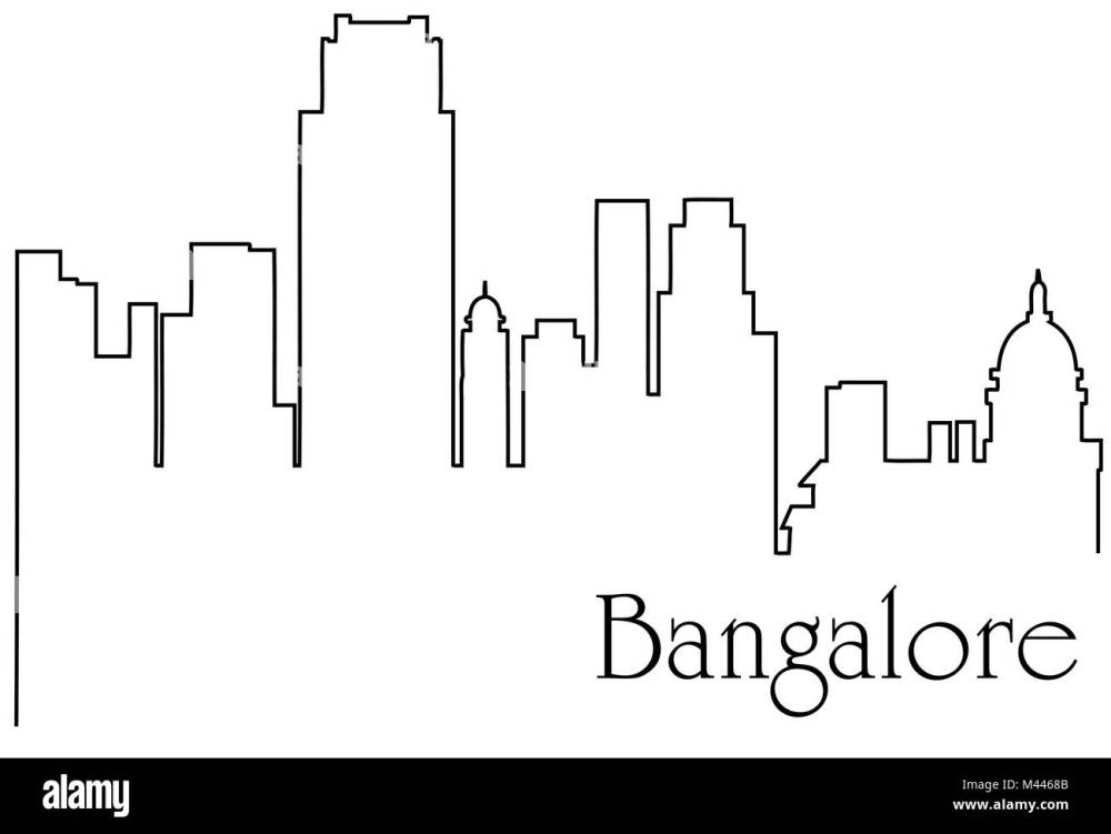 medium resolution of bangalore city one line drawing abstract background with metropolis cityscape