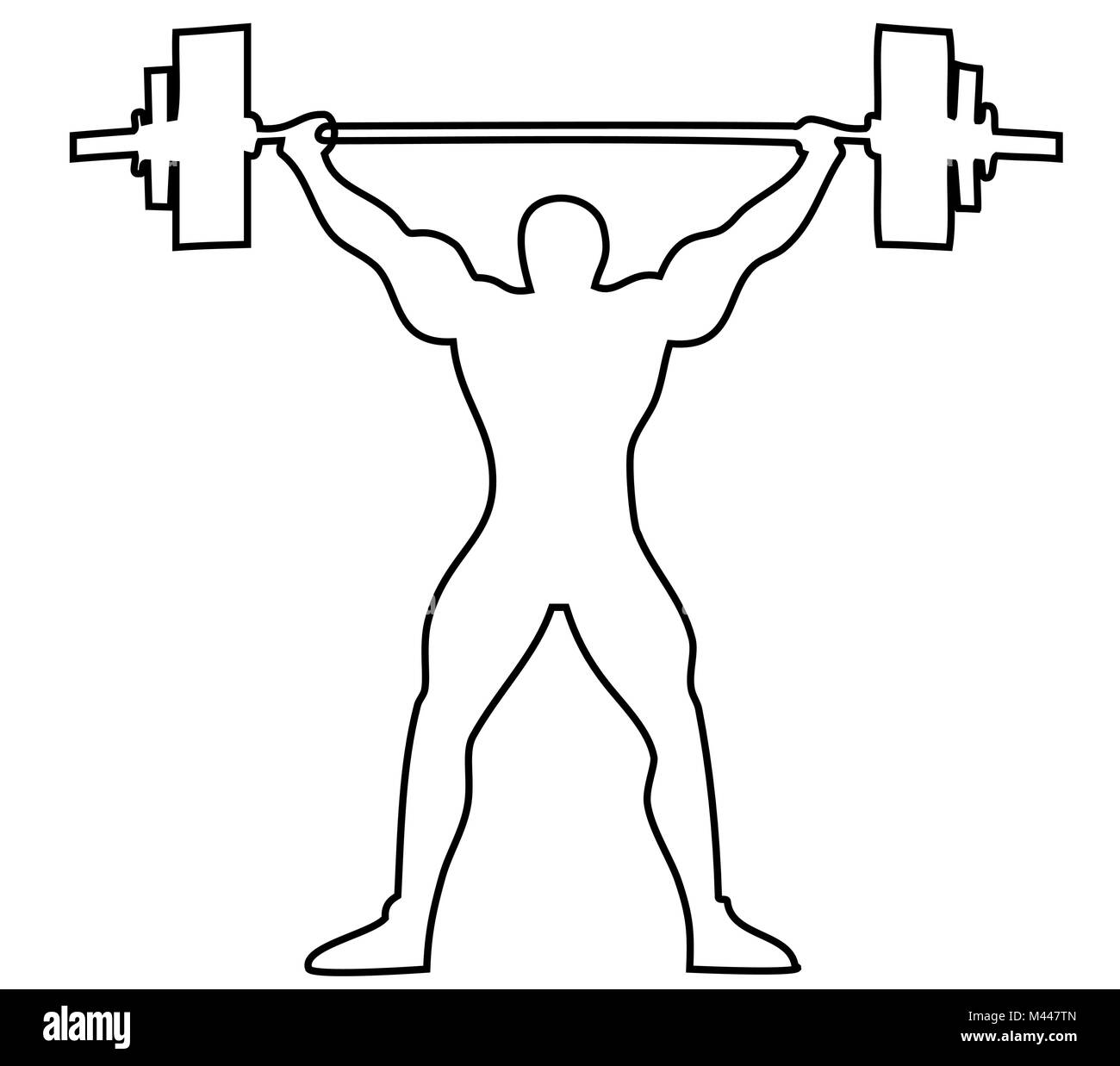 Lifting Weights One Line Drawing Background Stock Vector