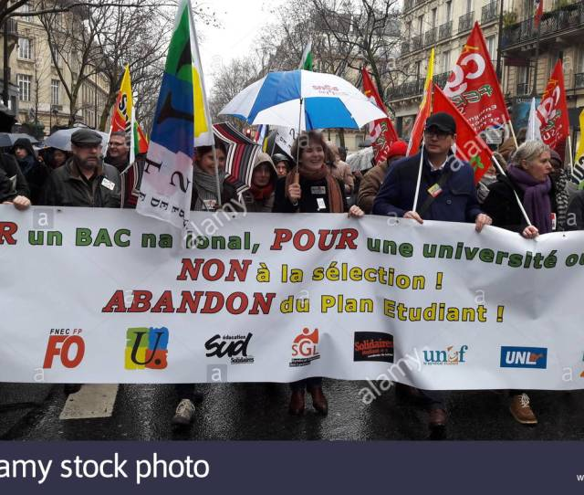 Paris France 15th Feb 2018 Protesters Hold Banners As They Take Part In A Demonstration Against The French Governments Proposed Reform Of University