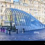 Modern Design Of The Glass And Steel Canopy At The Entrance Of St Stock Photo Alamy