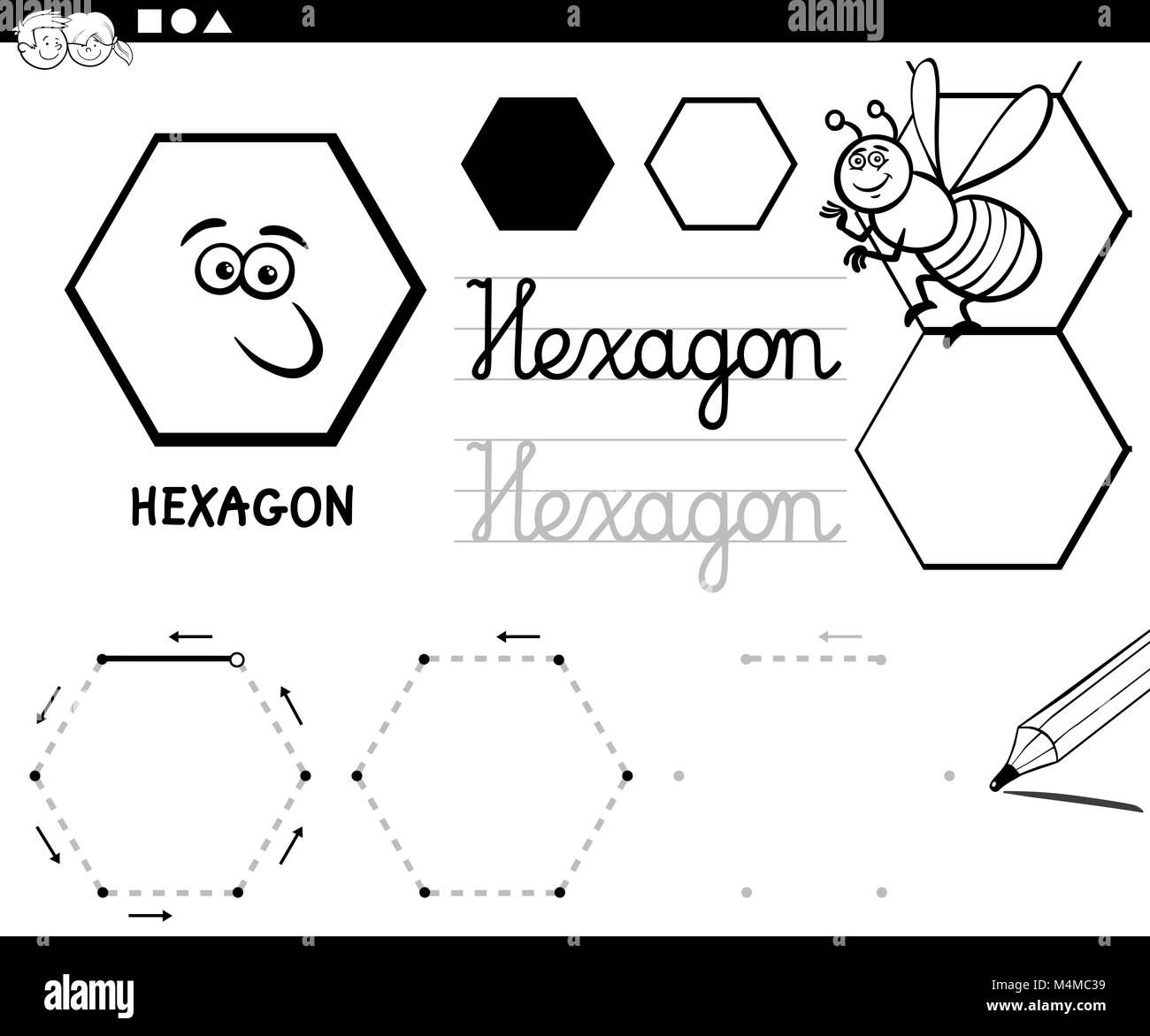 Hexagon Basic Geometric Shapes Coloring Page Stock Photo