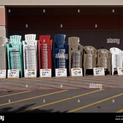 Lawn Chairs Home Depot Wicker Bar Stacks Of For Sale At Store California Usa