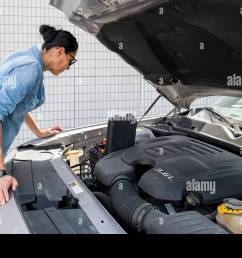 woman looking at fuse box of her sport car stock image [ 1300 x 956 Pixel ]
