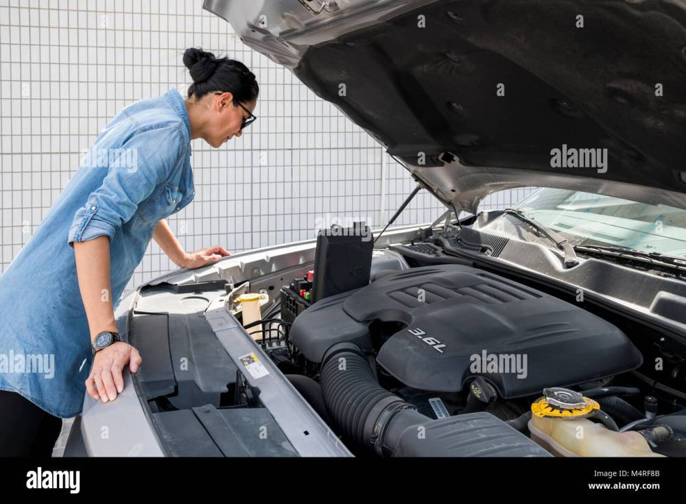 medium resolution of woman looking at fuse box of her sport car stock image