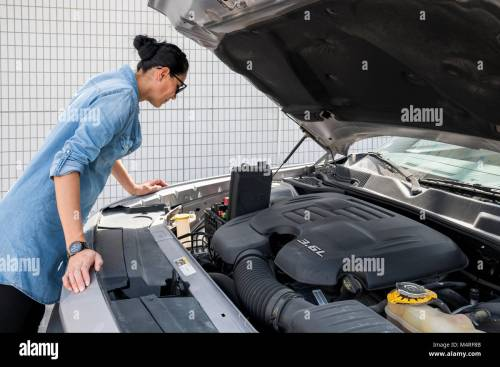 small resolution of woman looking at fuse box of her sport car stock image