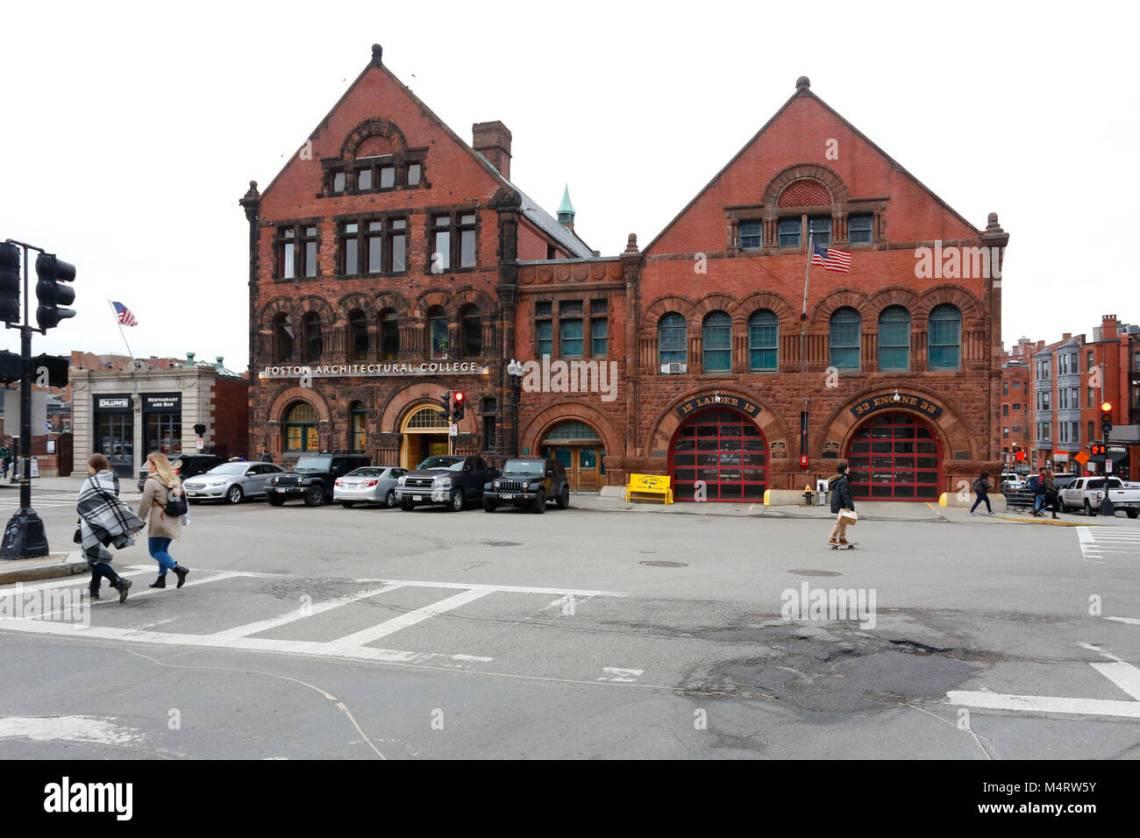 The Romanesque Architecture Of The Boston Architectural College And A Boston Firehouse Stock Photo Alamy