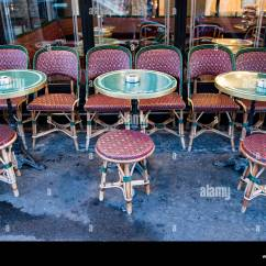 Paris Cafe Chairs Shield Back Street Colorful Stock Photos And