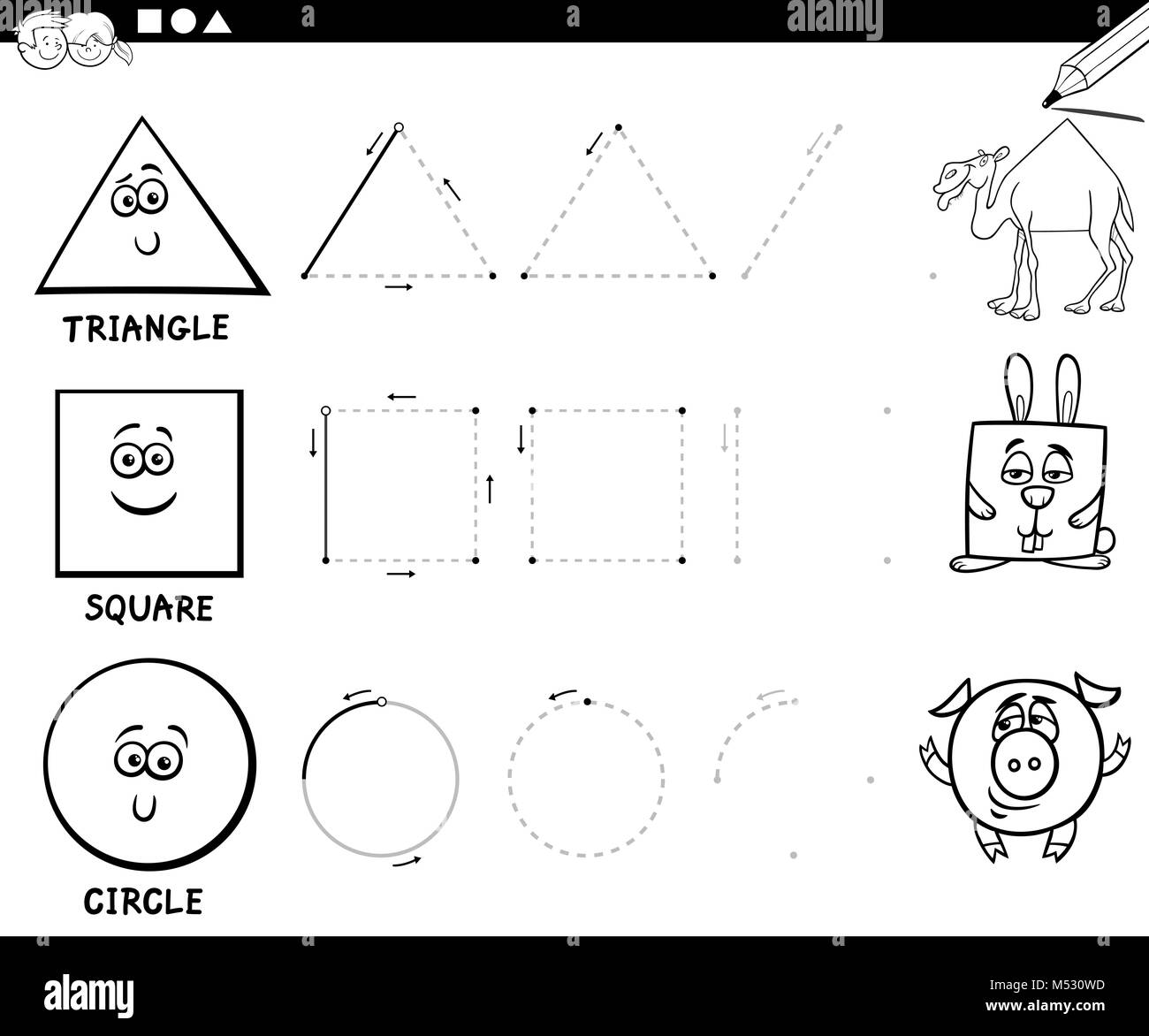 Draw Basic Geometric Shapes Coloring Page Stock Photo