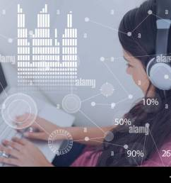business overlay interface with woman wearing headset earphones and laptop [ 1300 x 1009 Pixel ]