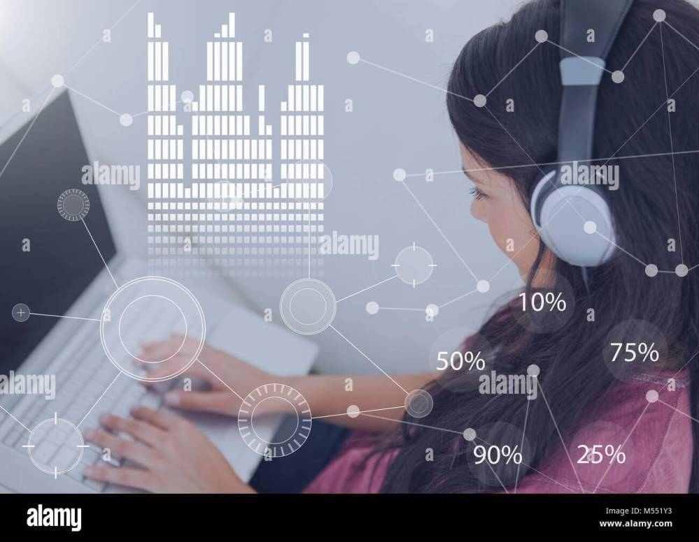 medium resolution of business overlay interface with woman wearing headset earphones and laptop