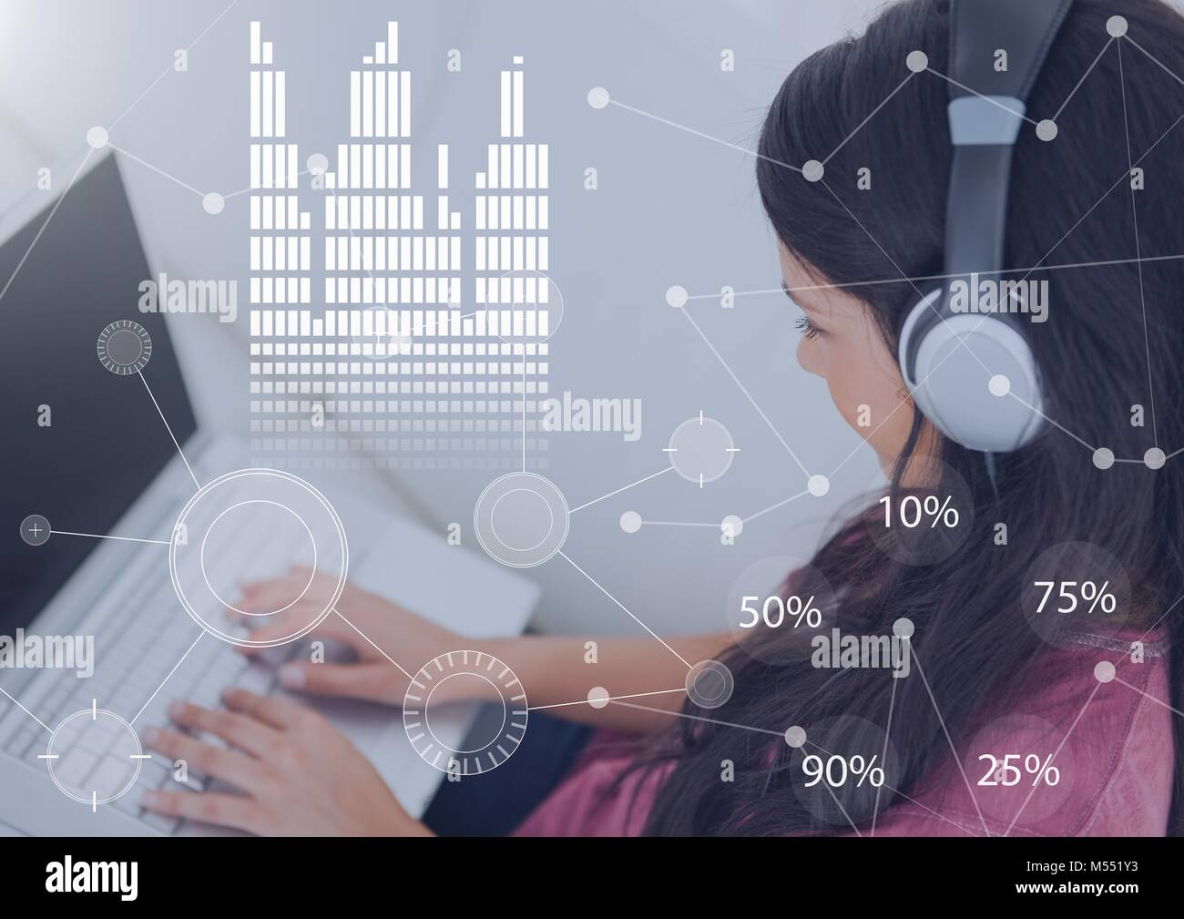 hight resolution of business overlay interface with woman wearing headset earphones and laptop