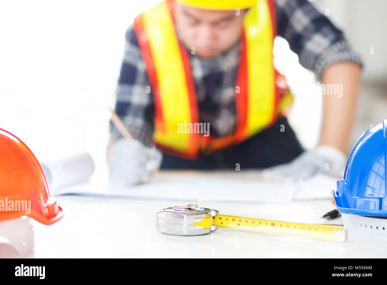 Blueprints Desk Man Drawing