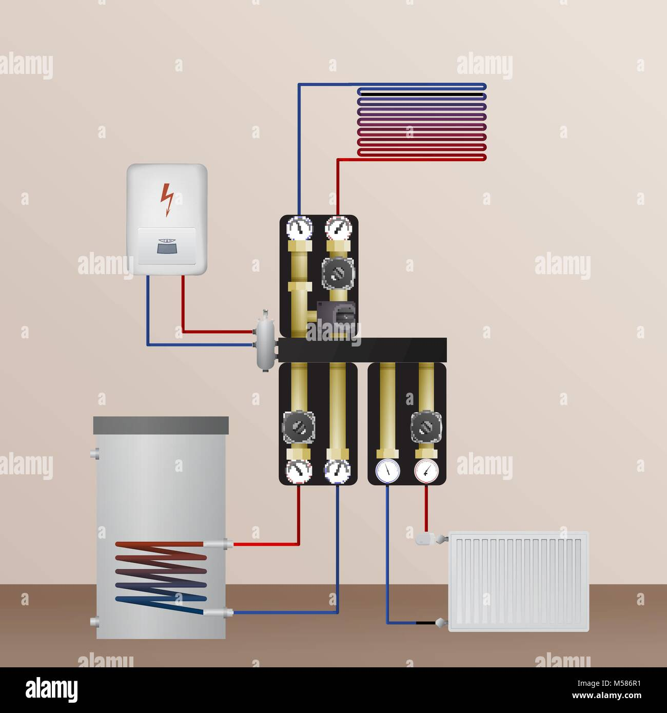 hight resolution of electrical boiler in the heating system vector illustration the hvac equipment hydraulic strapping underfloor heating radiator and water heating