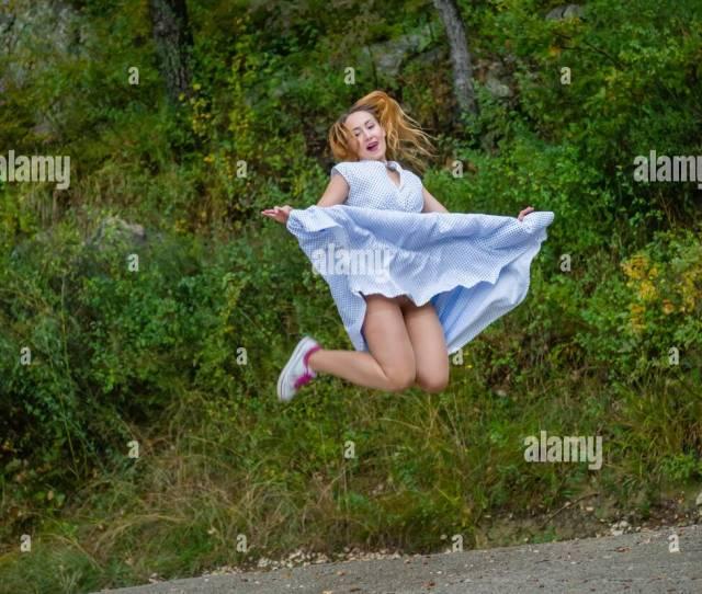 Jumping Upskirt Spread Apart Caucasian Ethnicity Stock Image