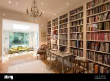 Library Interior Bookshelves Stock &