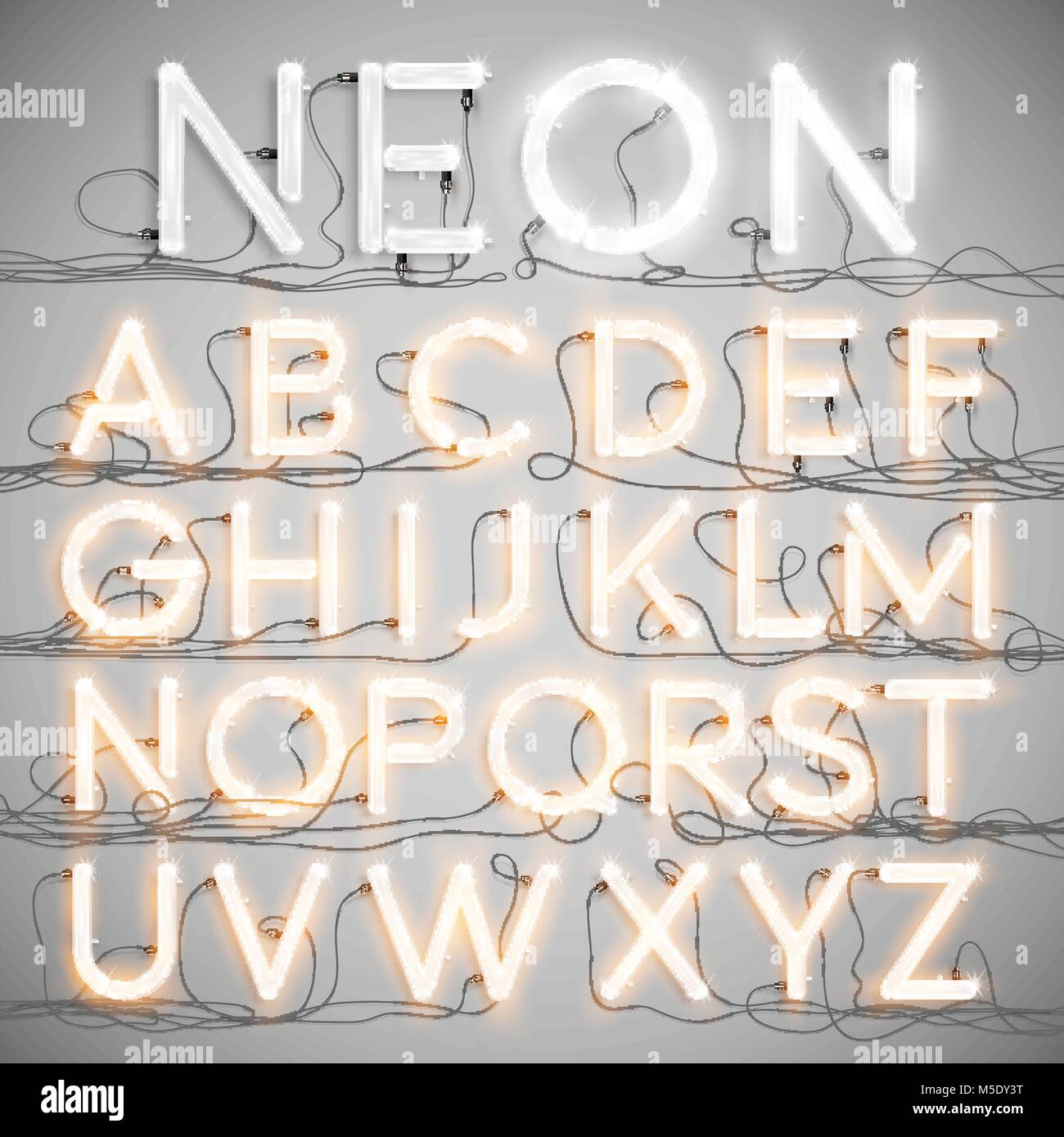 hight resolution of realistic neon alphabet with wires on vector stock image