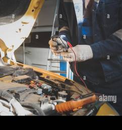 mechanic works with voltmeter car electrics electrical wiring [ 1300 x 821 Pixel ]