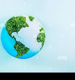 earth model made of paper and fresh green sprouts collage on blue background green planet creative concept earth day selective focus space for tex [ 1300 x 956 Pixel ]