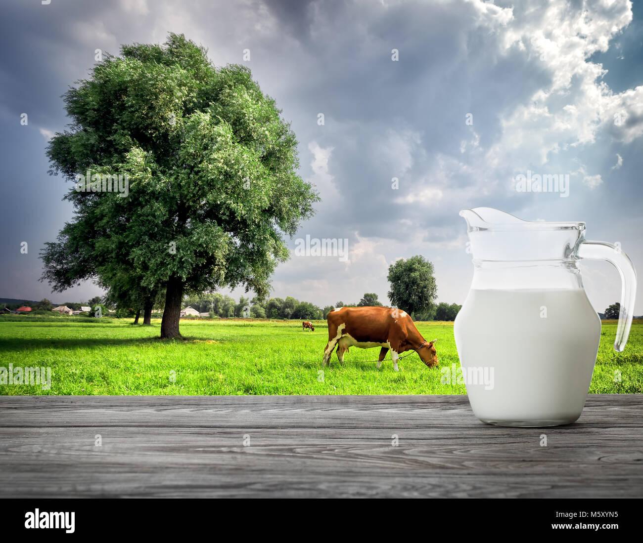pitcher of milk on
