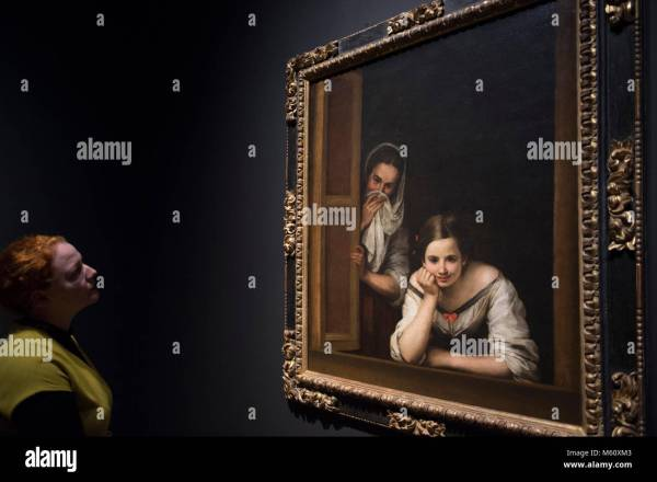 Painting Bartolome Esteban Murillo Two Women Stock