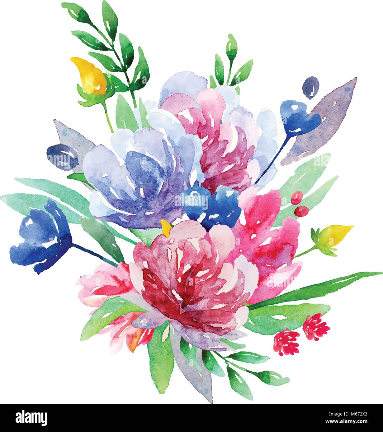 watercolor floral bouquet vector