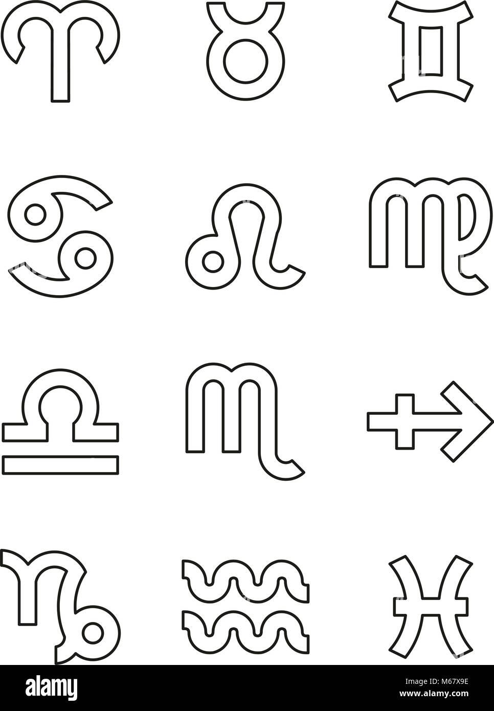Zodiac Text Symbols Black : zodiac, symbols, black, Zodiac, Symbols, Resolution, Stock, Photography, Images, Alamy