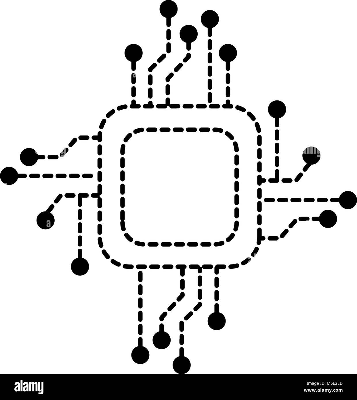 hight resolution of processor circuit electrical icon stock image
