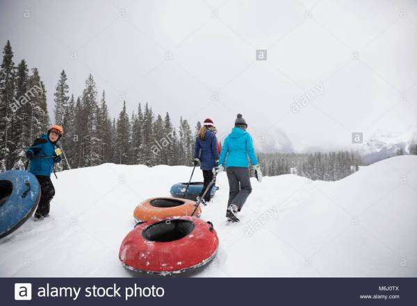 Tubing Snow Children Stock &
