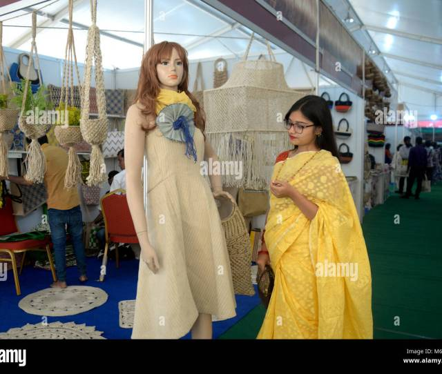 A Visitor Looks At A Jute Dress At A Stall Of Jute Fair In Dhaka Bangladesh On March 6 2018 The Three Day Fair Kicked Off On Tuesday