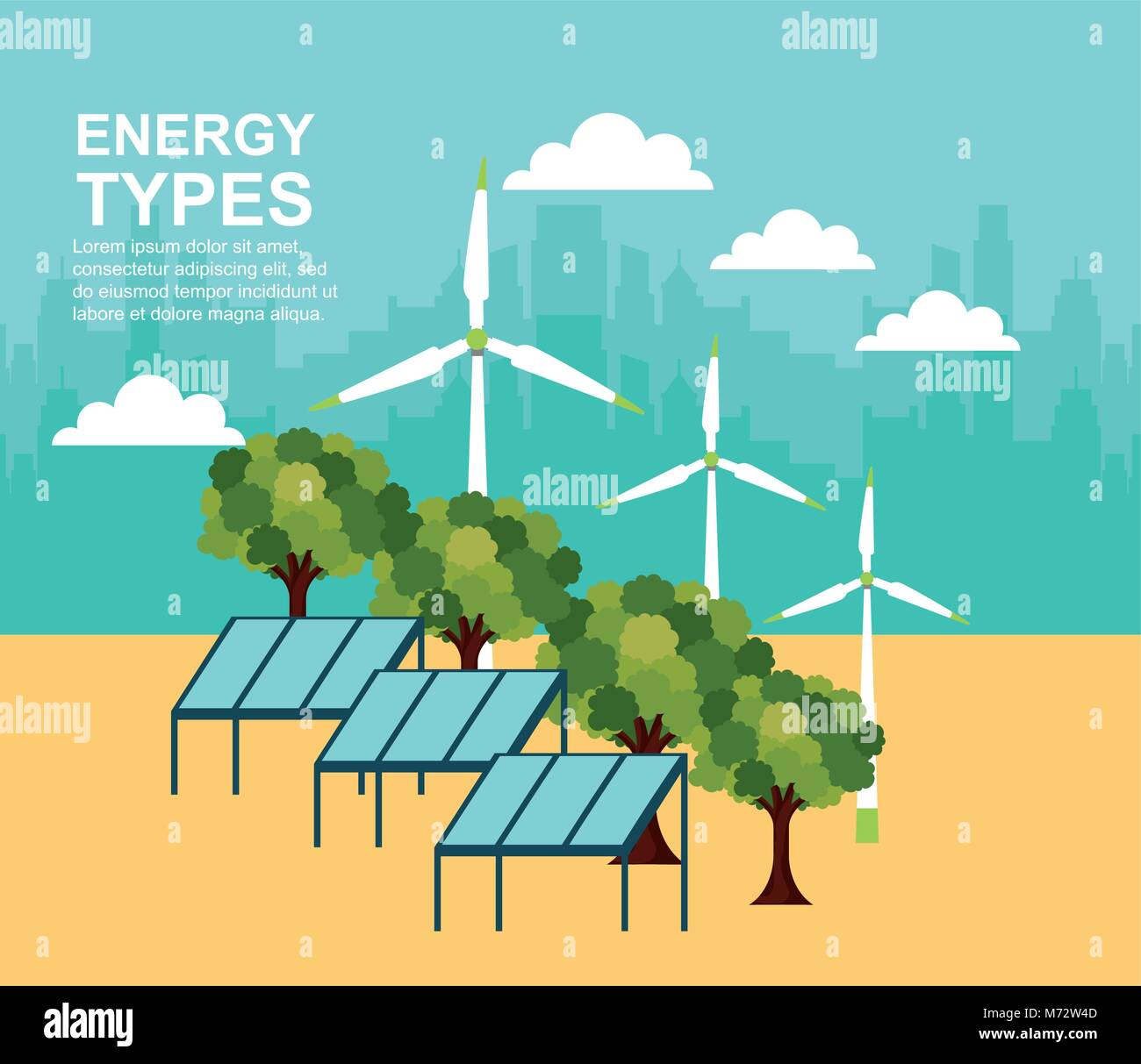 hight resolution of energy types ecological stock vector